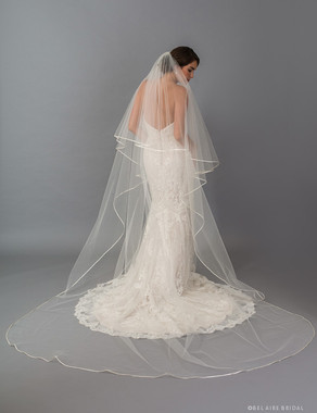 Bel Aire Bridal Veils V7415C - 2-tier foldover veil (elbow + cathedral) with folded ribbon edge.