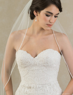 Bel Aire Bridal Veils V7383 -  1-tier fingertip veil with frosted bead edge