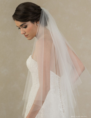Bel Aire Bridal Veils V7387 - 2-tier knee length foldover cut edge veil with points