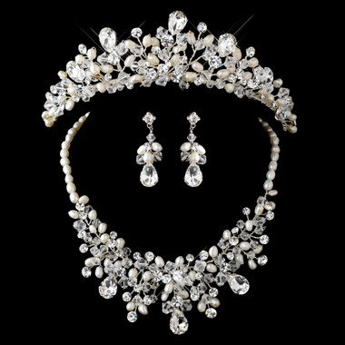 Silver Freshwater Pearl, Swarovski Crystal Bead and Rhinestone Tiara Headpiece 9783 & Jewelry Set 9783