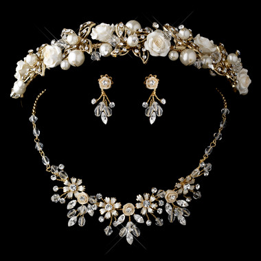 Gold Champagne Pearl, Swarovski Crystal Bead and Rhinestone Ceramic Flower Tiara Headpiece 9842 & Jewelry Set 7305