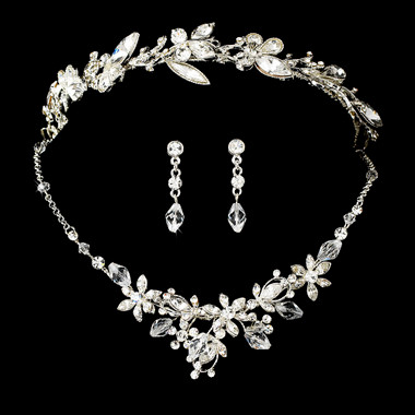 Swarovski Crystal Bridal Necklace Earring & Tiara Set HP8123