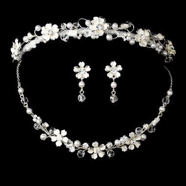 Pearl & Crystal Bridal Jewelry & Tiara Set HP7877