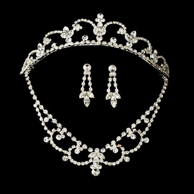 Crystal Bridal Necklace Earring & Tiara Set NE 7200 & HP 7098