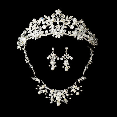 Pearl & Crystal Bridal Jewelry & Tiara Set HP7102