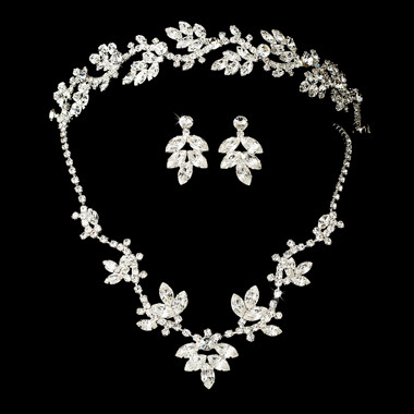 Crystal Bridal Necklace Earring & Tiara Set HP7010