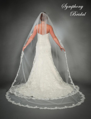 Symphony Bridal Veil - Style 6443VL - One Tier Cathedral Lace Edge