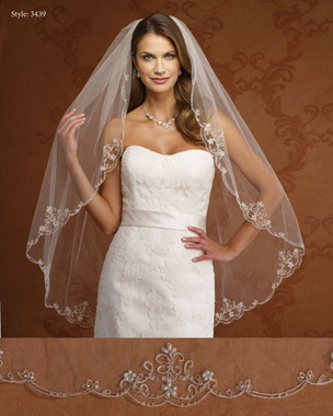 Marionat Bridal Veils 3439- Silver Embroidery with Pearls-The Bridal Veil Company