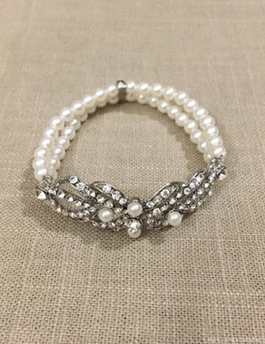 Bel Aire Bridal Bracelet BC159 -  Rhinestone and pearl stretch bracelet