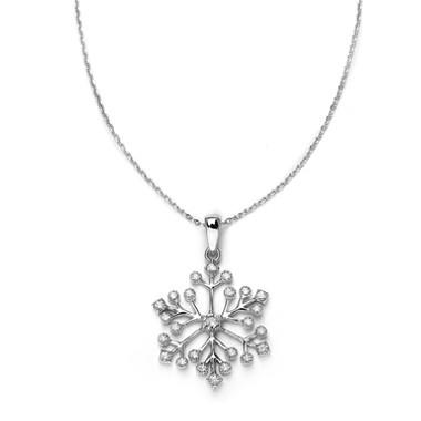 Mariells Winter Wedding Cubic Zirconia Snowflake Necklace Pendant 3758N