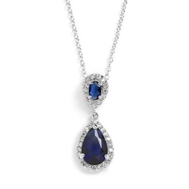 Mariells Top-Selling Sapphire Cubic Zirconia Teardrop Wedding Pendant 4036N-SA