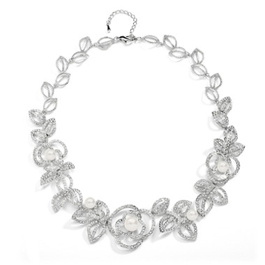 Mariells Designer Wedding Necklace with Cubic Zirconia and Pearl Flowers 4055N