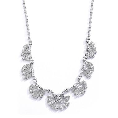 "Mariells Art Deco ""Fan"" Design Cubic Zirconia Wedding Necklace 4073N"
