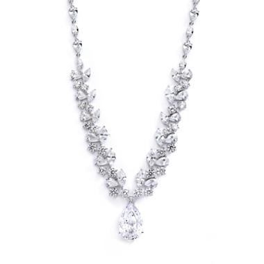 Mariells Breathtaking Cubic Zirconia Red Carpet Drop Wedding Necklace 4074N