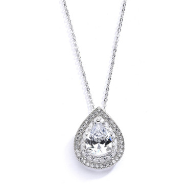 Mariells Designer Micro Pave Cubic Zirconia Bridal or Mother of the Bride Pendant 4076N