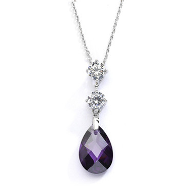 Mariells CZ Bridal or Bridesmaids Necklace Pendant with Amethyst Crystal Drop 4078N-AM
