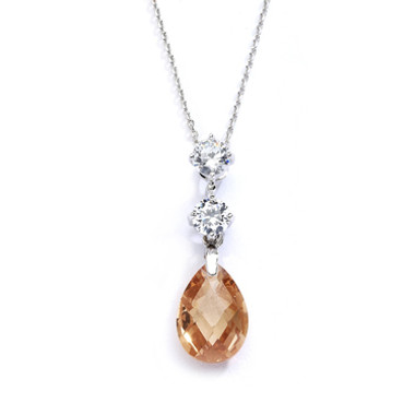 Mariells CZ Bridal or Bridesmaids Necklace Pendant with Champagne Crystal Drop 4078N-CH