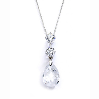 Mariells CZ Bridal or Bridesmaids Necklace Pendant with Austrian Crystal Drop 4078N-CR