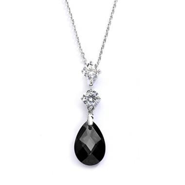 Mariells CZ Bridal or Bridesmaids Necklace Pendant with Jet Black Crystal Drop 4078N-JE