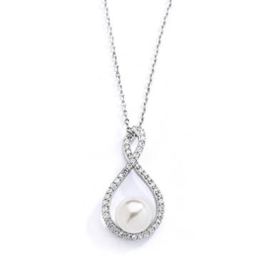 Mariells Eternity Symbol Cubic Zirconia Wedding Necklace with Pearl 4075N