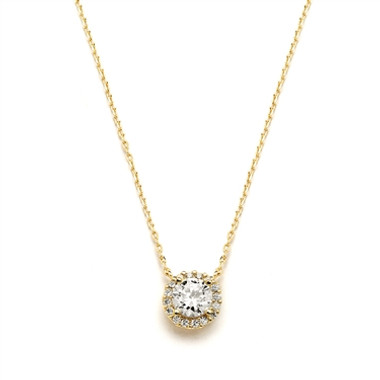 Mariells Delicate Cubic Zirconia Gold Pave Bridal Necklace 4095N
