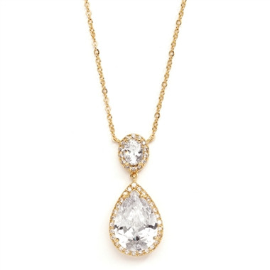 Mariells Couture Cubic Zirconia Pear-Shaped Bridal Necklace 2074N-G