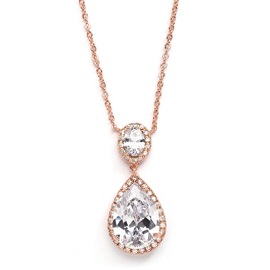 Mariells Couture Cubic Zirconia Pear-Shaped Bridal Necklace 2074N-RG