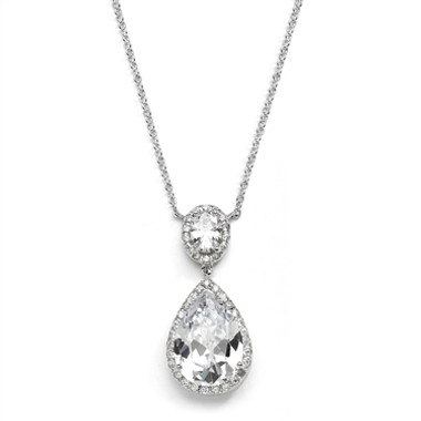 Mariells Couture Cubic Zirconia Pear-Shaped Bridal Necklace 2074N-S