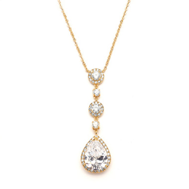 Mariells Best-Selling Gold Bridal Necklace with Pear-shaped CZ Drop 400N-G