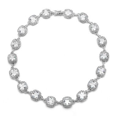 Mariells Best Selling Wedding or Pageant Necklace with Cushion Cut CZ 4069N-S