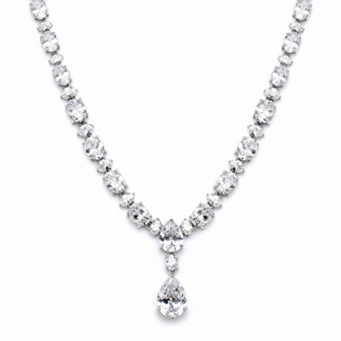 Mariells Shimmering Pear & Oval CZ Bridal Statement Necklace 4200N