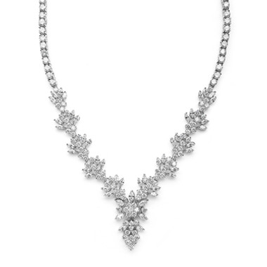 Mariells Top Selling Marquis CZ Cluster Wedding or Pageant Necklace 4239N