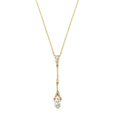 Mariells Graceful Linear Gold Cubic Zirconia Wedding or Prom Necklace 4094N