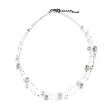 Mariells Sarah's Special 2-Row Floating Pearl, Crystal and Rhinestone Fireball Illusion Wedding Necklace 4265N-2-I-CR-S