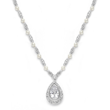 Mariells Victorian Bridal Necklace with Pearls & Cubic Zirconia Teardrop 3828N
