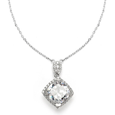 Mariells Popular Micro Pave CZ Cushion Cut Wedding Necklace 3780N