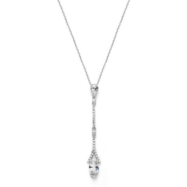 Mariells Delicate Cubic Zirconia Linear Wedding or Bridesmaids Necklace 3787N