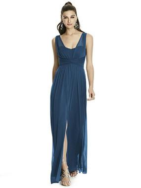 Alfred Sung Dress Style D740 - Sofia Blue - Chiffon Knit - In Stock Dress