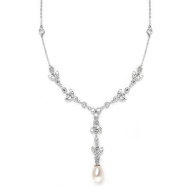 Mariells Freshwater Pearl & Cubic Zirconia Tulip Wedding Necklace 3638N