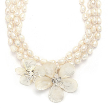 Mariells Exotic Freshwater Pearl Bridal Necklace with Flowers 3134N