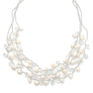 Mariells Genuine Freshwater Pearls 3-Row Bridal Necklace 3132N