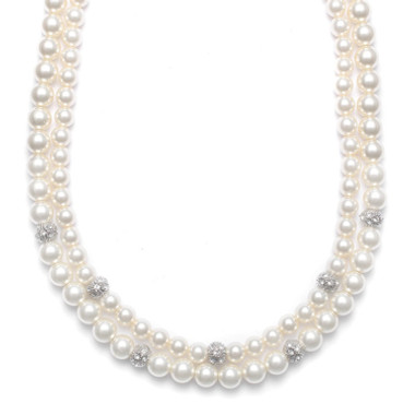 Mariells 2-Row Ivory Pearl Bridal Neck with CZ Balls 3246N
