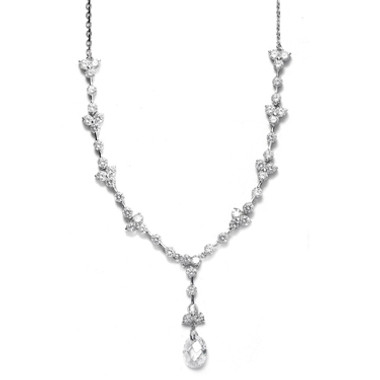 Mariells CZ Bridal Necklace with Faceted Crystal Drop 340N