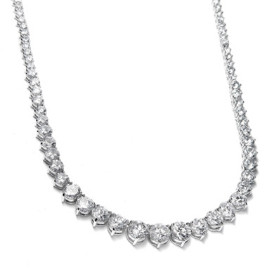 Mariells Graduated Cubic Zirconia Tennis Necklace 531N