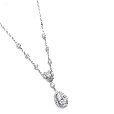 Mariells Cubic Zirconia Pendant with pear shaped Drop 689N-S