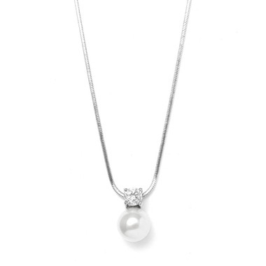 Mariells Pearl & CZ Solitaire Bridal Necklace 412N