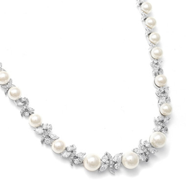 Mariells Luxurious Pearl and CZ Bridal Necklace 723N