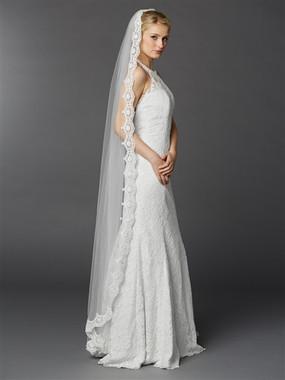 Floor or Chapel Length Wedding Mantilla Veil with Lace  3325V-W
