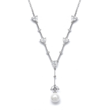 "Mariells CZ Trillions ""Y"" Necklace with Pearl N080"