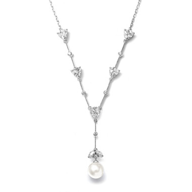 "Mariells CZ Trillions ""Y"" Necklace with Pearl N080-I-S"